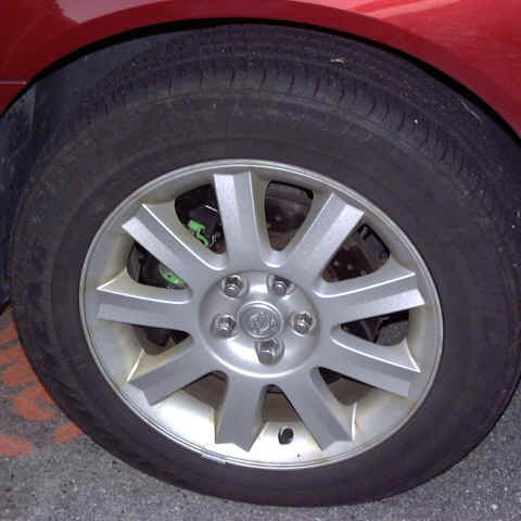 Close-up of Left Front Wheel, Showing EBC Rotor and Greenstuff Pad