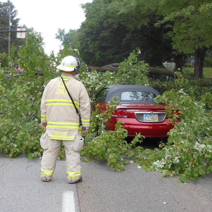 Fire Chief Examining Car