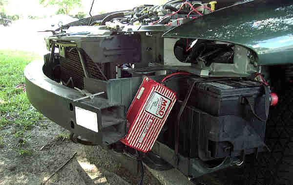 MSD 6AL Ignition Controller Mounted on Left Bumper Strut